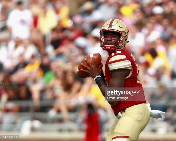 Quarterback Anthony Brown of the Boston College Eagles looks to pass the ball during the game against the Wake Forest Demon Deacons at Alumni Stadium...