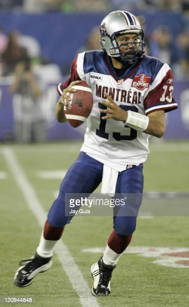 Quarterback Anthony Calvillo of the Montreal Alouettes in action vs the Toronto Argonauts in Canadian Football League action at Rogers Centre in...
