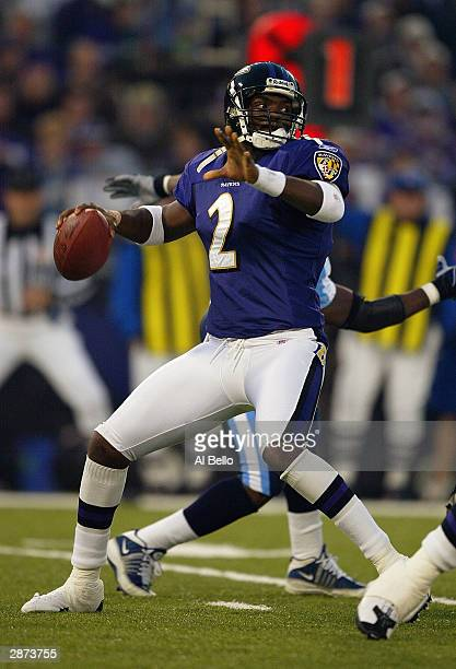 Quarterback Anthony Wright of the Baltimore Ravens sets to throw a pass during the AFC Wildcard playoff game against the Tennessee Titans at M T Bank...