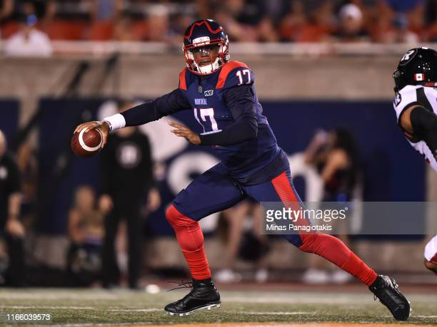 Quarterback Antonio Pipkin of the Montreal Alouettes runs the ball against the Ottawa RedBlacks during the CFL game at Percival Molson Stadium on...