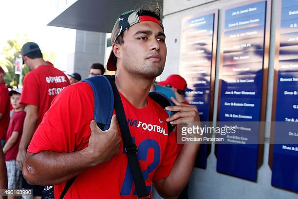 Quarterback Anu Solomon of the Arizona Wildcats arrives to Arizona Stadium before the college football game against the UCLA Bruins on September 26,...