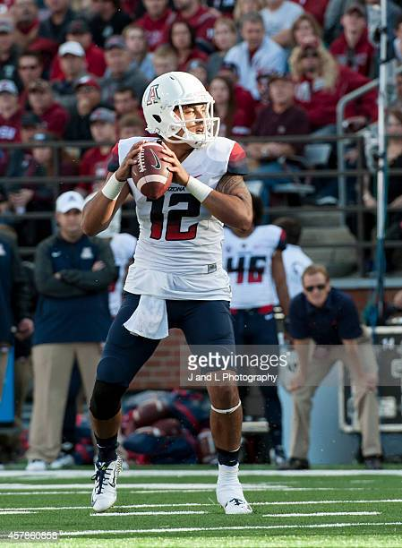 Quarterback Anu Solomon of the Arizona Wildcats drops back for a pass against the Washington Sate University Cougars at Martin Stadium on October 25,...