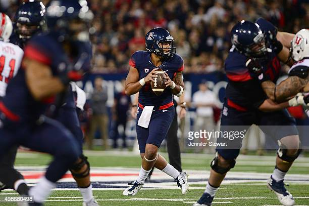 Quarterback Anu Solomon of the Arizona Wildcats drops back to make a pass in the game against the Utah Utes at Arizona Stadium on November 14, 2015...