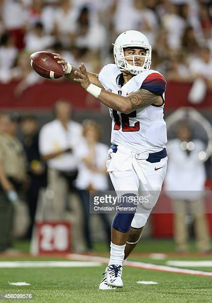 Quarterback Anu Solomon of the Arizona Wildcats drops back to pass during the college football game against the California Golden Bears at Arizona...