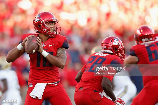 Quarterback Anu Solomon of the Arizona Wildcats drops back to pass during the college football game against the UCLA Bruins at Arizona Stadium on...