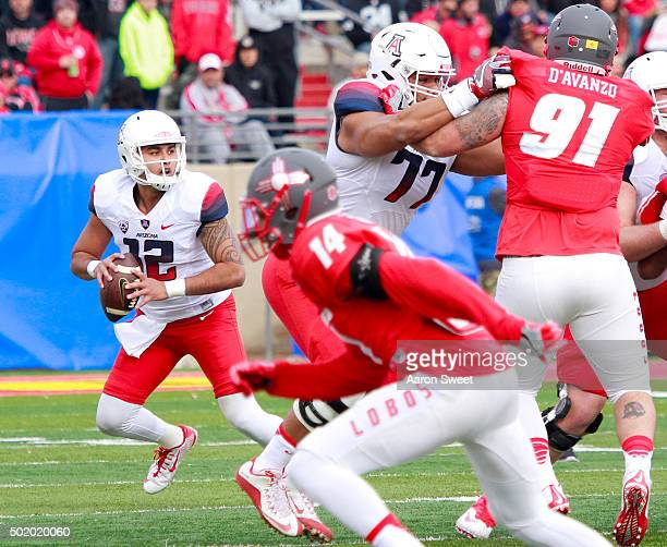 Quarterback Anu Solomon of the Arizona Wildcats looks for a receiver in the first half of the game against the New Mexico Lobos during the New Mexico...