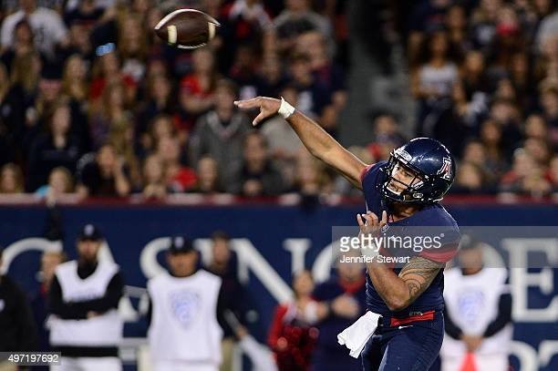 Quarterback Anu Solomon of the Arizona Wildcats makes a pass in the first quarter of the game against the Utah Utes at Arizona Stadium on November...