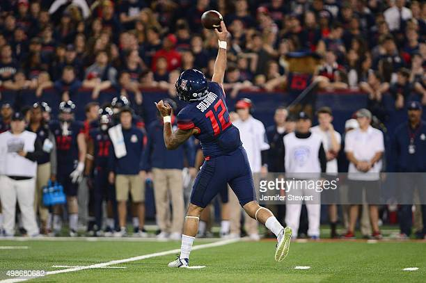 Quarterback Anu Solomon of the Arizona Wildcats makes a pass in the first half of the game against the Utah Utes at Arizona Stadium on November 14,...