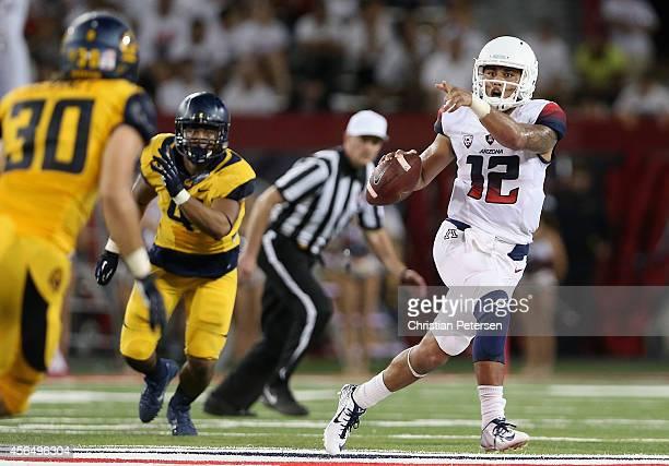 Quarterback Anu Solomon of the Arizona Wildcats scrambles during the college football game against the California Golden Bears at Arizona Stadium on...