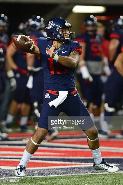 Quarterback Anu Solomon of the Arizona Wildcats throws the football during warm ups prior to the game against the Utah Utes at Arizona Stadium on...