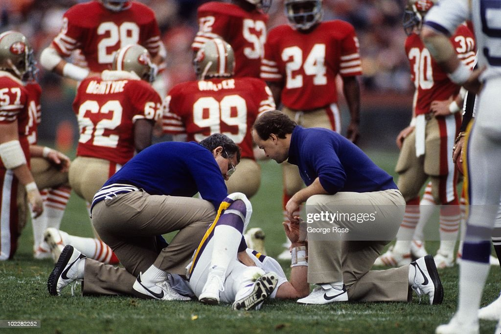 Minnesota vikings v san francisco 49ers pictures getty images quarterback archie manning 4 of the minnesota vikings gets treated for an injury during the voltagebd Choice Image