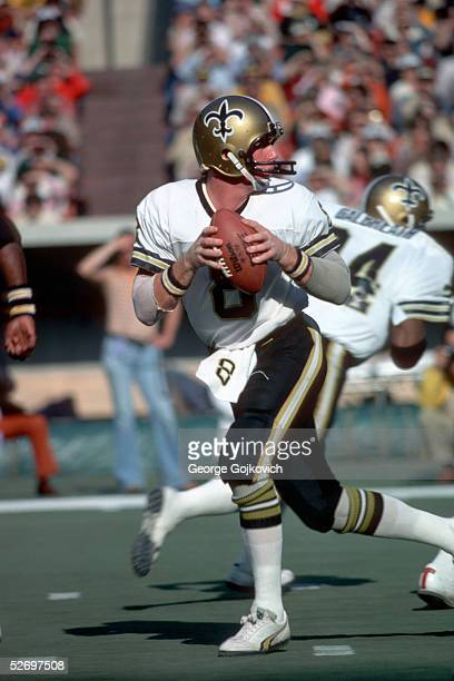 Quarterback Archie Manning of the New Orleans Saints drops back to pass against the Pittsburgh Steelers at Three Rivers Stadium on November 5 1978 in...