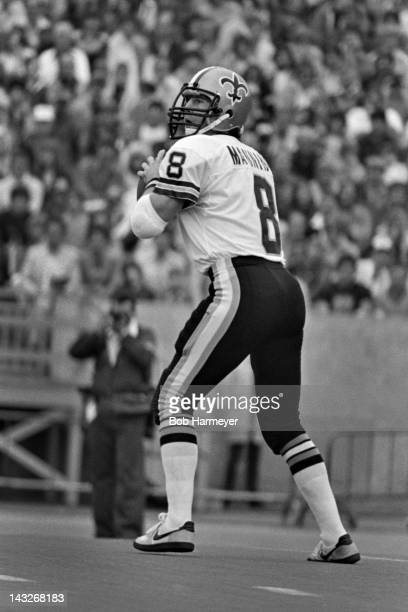 Quarterback Archie Manning of the New Orleans Saints prepares to throw a pass against the Chicago Bears on September 14 at Soldier Field in Chicago...