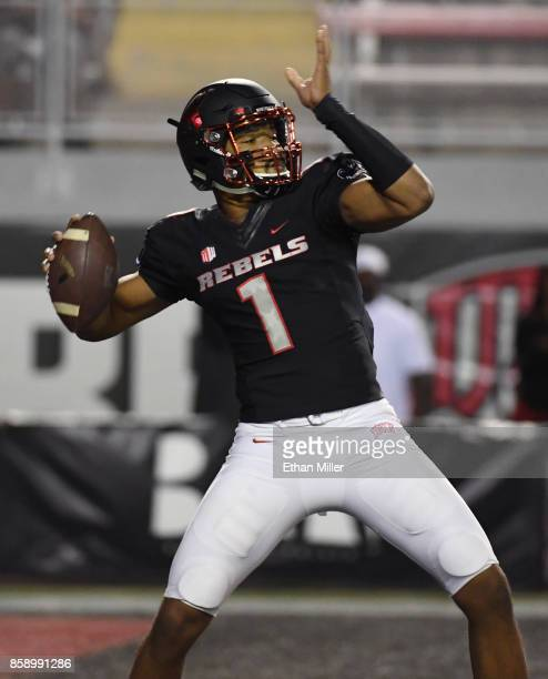 Quarterback Armani Rogers of the UNLV Rebels looks to pass against the San Diego State Aztecs during their game at Sam Boyd Stadium on October 7 2017...