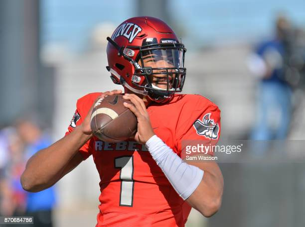Quarterback Armani Rogers of the UNLV Rebels warms up before the team's game against the Hawaii Warriors at Sam Boyd Stadium on November 4 2017 in...