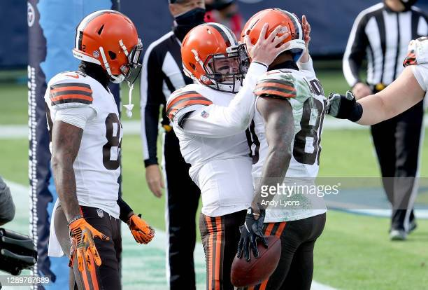 Quarterback Baker Mayfield and Jarvis Landry Cleveland Browns celebrate a touchdown against the Tennessee Titans in the first quarter in the first...