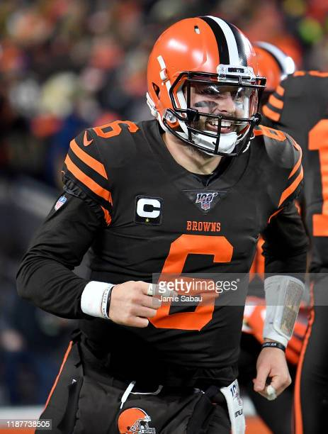 Quarterback Baker Mayfield of the Cleveland Browns celebrates a pass to Jarvis Landry of the Cleveland Browns for a touchdown in the second quarter...