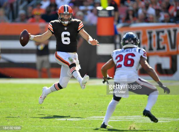 Quarterback Baker Mayfield of the Cleveland Browns in the game against the Houston Texans at FirstEnergy Stadium on September 19, 2021 in Cleveland,...