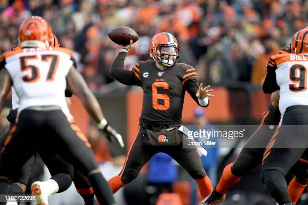 Quarterback Baker Mayfield of the Cleveland Browns passes during the first half against the Cincinnati Bengals at FirstEnergy Stadium on December 08...