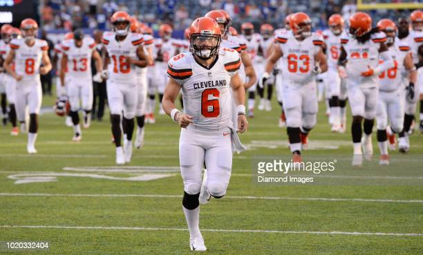 Quarterback Baker Mayfield of the Cleveland Browns runs off the field prior to a preseason game against the New York Giants at MetLife Stadium in...