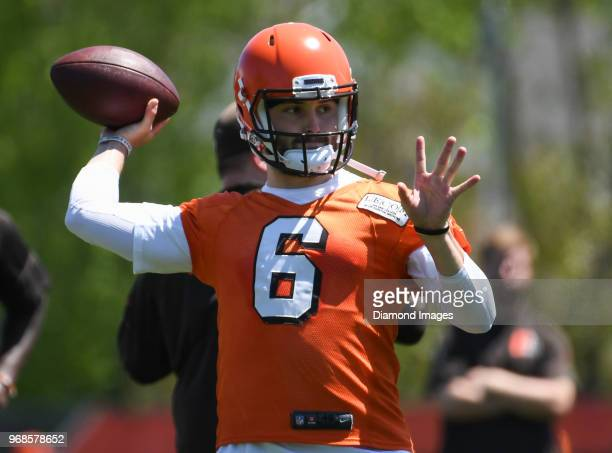 Quarterback Baker Mayfield of the Cleveland Browns throws a pass during an OTA practice at the Cleveland Browns training facility in Berea Ohio