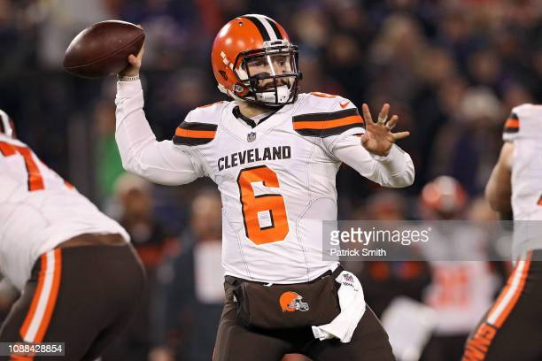 Quarterback Baker Mayfield of the Cleveland Browns throws the ball against the Baltimore Ravens at MT Bank Stadium on December 30 2018 in Baltimore...