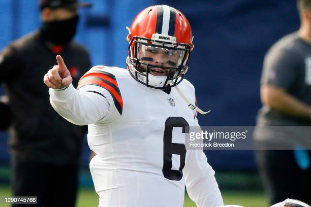 Quarterback Baker Mayfield of the Cleveland Browns warms up prior to a game against the Tennessee Titans at Nissan Stadium on December 06, 2020 in...