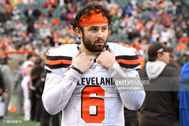 Quarterback Baker Mayfield of the Cleveland Browns watches the action from the sideline in the fourth quarter of a game against the Cincinnati...