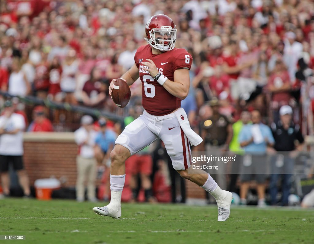 Quarterback Baker Mayfield #6 of the Oklahoma Sooners looks to throw against the Tulane Green Wave at Gaylord Family Oklahoma Memorial Stadium on September 16, 2017 in Norman, Oklahoma. Oklahoma defeated Tulane 56-14.