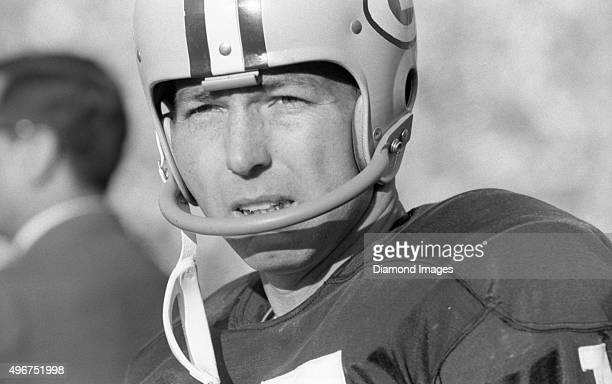 Quarterback Bart Starr of the Green Bay Packers watches the action from the sidelines during Super Bowl I on January 15 1967 against the Kansas City...