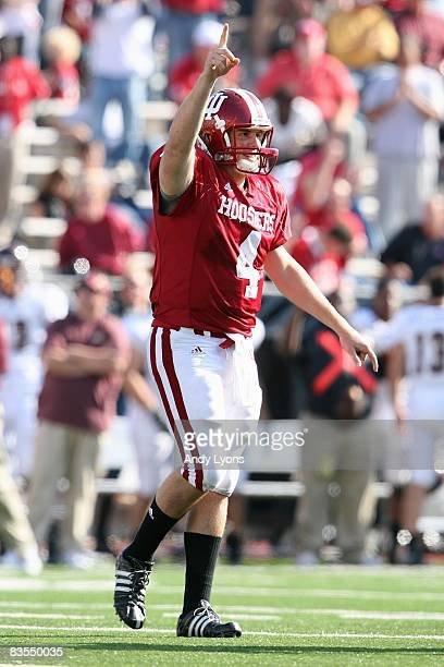 Quarterback Ben Chappell of the Indiana Hooisers celebrates on the field during the game against the Central Michigan Chippewas at Memorial Stadium...
