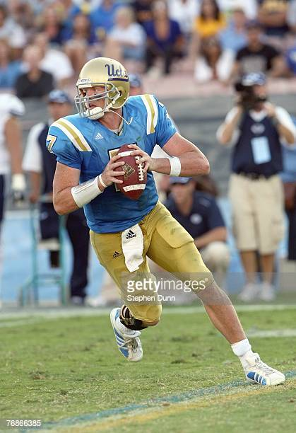 Quarterback Ben Olson of the UCLA Bruins passes the ball against the BYU Cougars on September 8, 2007 at the Rose Bowl in Pasadena, California. UCLA...