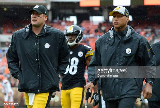 Quarterback Ben Roethlisberger and linebacker Ryan Shazier of the Pittsburgh Steelers walk off the field prior to a game against the Cleveland Browns...