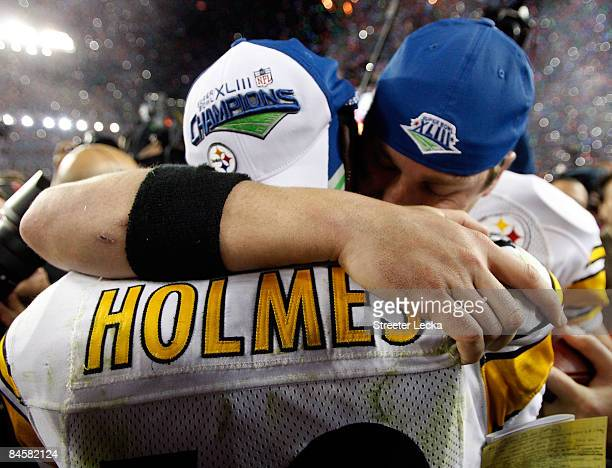 Quarterback Ben Roethlisberger and Santonio Holmes of the Pittsburgh Steelers celebrate after they won 27-24 against the Arizona Cardinals during...