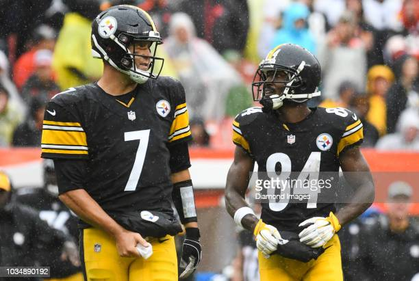 Quarterback Ben Roethlisberger and wide receiver Antonio Brown of the Pittsburgh Steelers walk onto the field in the third quarter of a game against...