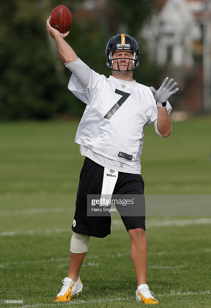 Quarterback Ben Roethlisberger in action during a Pittsburgh Steelers training session at the Twyford Avenue Sports Ground on September 27, 2013 in London, England.