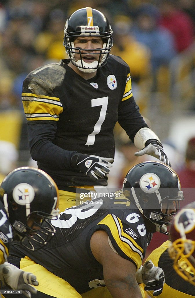 Quarterback Ben Roethlisberger #7 of the Pittsburgh Steelers calls a play against the Washington Redskins during the game on November 28, 2004 at Heinz Field in Pittsburgh, Pennsylvania. The Steelers defeated the Redskins 16-7.