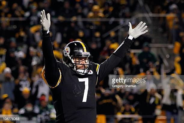 Quarterback Ben Roethlisberger of the Pittsburgh Steelers celebrates a first quarter touchdown against the New York Jets during the 2011 AFC...
