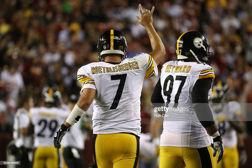 Quarterback Ben Roethlisberger #7 of the Pittsburgh Steelers celebrates after throwing a third quarter touchdown pass to wide receiver Antonio Brown #84 (not pictured) against the Washington Redskins at FedExField on September 12, 2016 in Landover, Maryland.