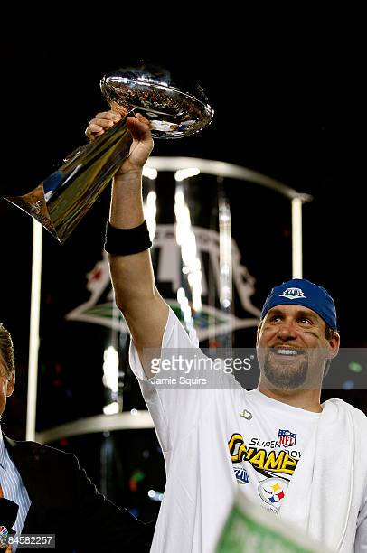 Quarterback Ben Roethlisberger of the Pittsburgh Steelers celebrates with the Vince Lombardi trophy after they won 27-23 the Arizona Cardinals during...