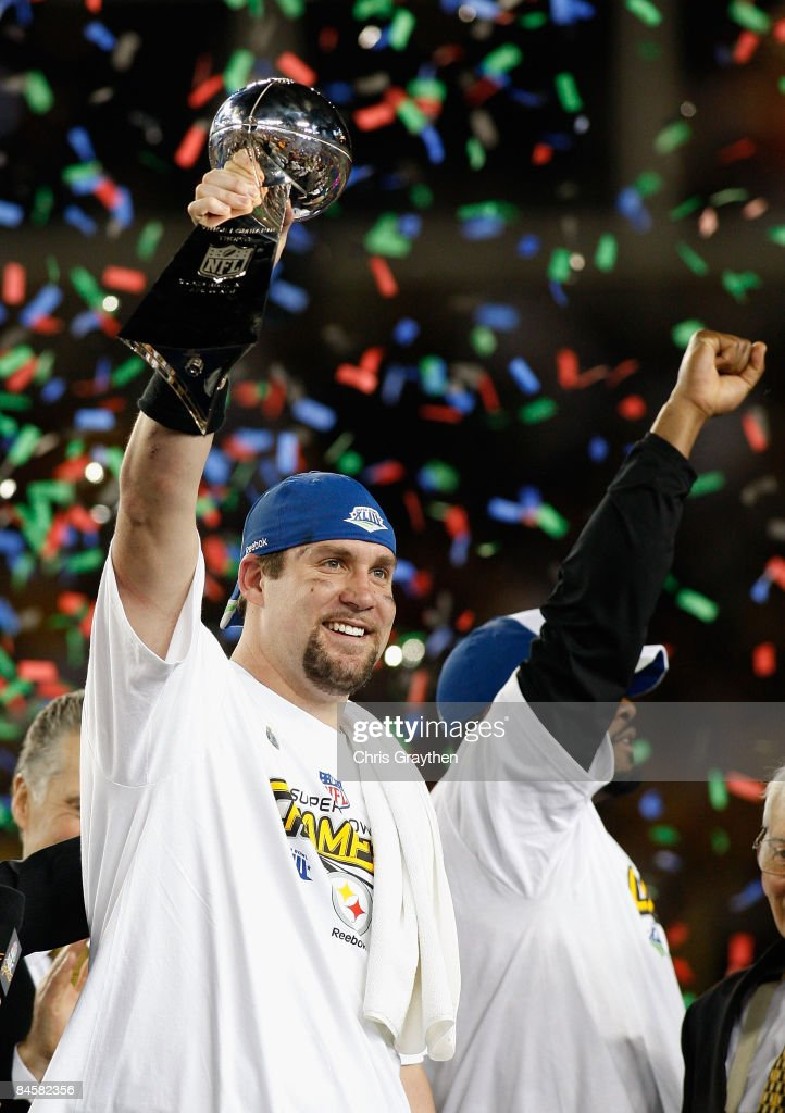 Quarterback Ben Roethlisberger #7 of the Pittsburgh Steelers celebrates with the Vince Lombardi trophy after defeating the Arizona Cardinals during Super Bowl XLIII on February 1, 2009 at Raymond James Stadium in Tampa, Florida. The Steelers won the game by a score of 27-23.
