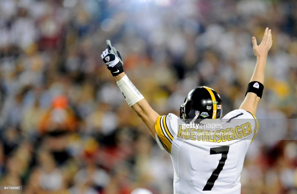 Quarterback Ben Roethlisberger #7 of the Pittsburgh Steelers gestures a touchdown signal against the Arizona Cardinals during Super Bowl XLIII on February 1, 2009 at Raymond James Stadium in Tampa, Florida. The Steelers defeated the Cardinals 27-23.