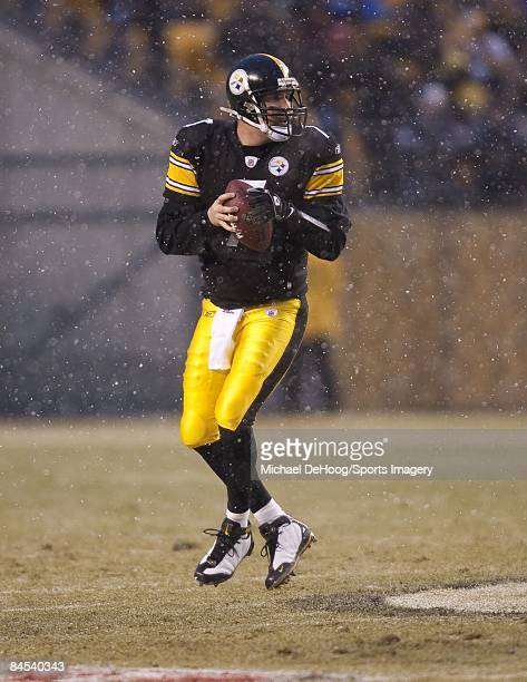 Quarterback Ben Roethlisberger of the Pittsburgh Steelers goes back to pass against the San Diego Chargers during a AFC Divisional Playoff Game on...