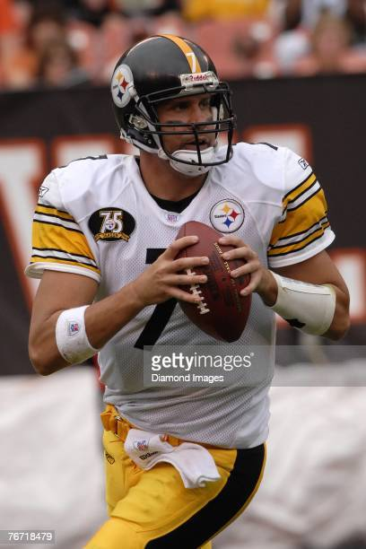 Quarterback Ben Roethlisberger of the Pittsburgh Steelers looks for an open receiver during a game with the Cleveland Browns on September 9 2007 at...
