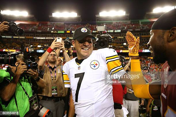 Quarterback Ben Roethlisberger of the Pittsburgh Steelers meets with defensive back Josh Norman of the Washington Redskins after the Pittsburgh...
