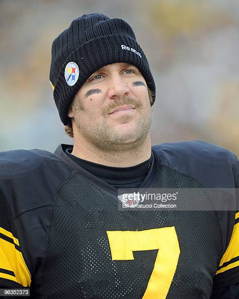 Quarterback Ben Roethlisberger of the Pittsburgh Steelers on the sidelines during a game on December 27, 2009 against the Baltimore Ravens at Heinz...