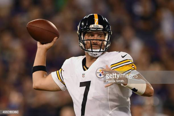 Quarterback Ben Roethlisberger of the Pittsburgh Steelers passes against the Baltimore Ravens at MT Bank Stadium on September 11 2014 in Baltimore...