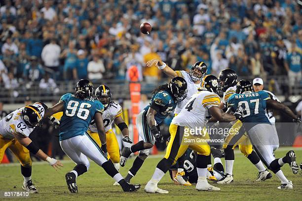 Quarterback Ben Roethlisberger of the Pittsburgh Steelers passes the ball during the game against the Jacksonville Jaguars at Jacksonville Municipal...