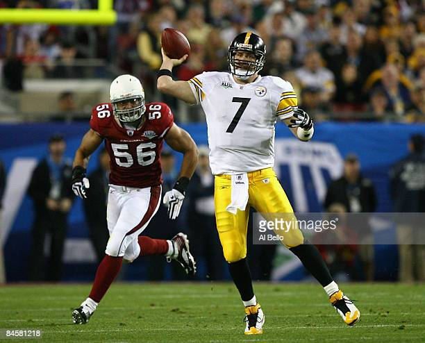Quarterback Ben Roethlisberger of the Pittsburgh Steelers passes against the Arizona Cardinals during Super Bowl XLIII on February 1, 2009 at Raymond...