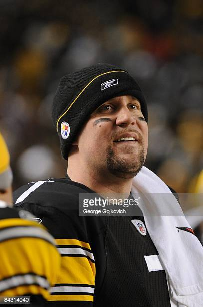 Quarterback Ben Roethlisberger of the Pittsburgh Steelers smiles as he looks on from the sideline during an AFC Divisional Playoff Game against the...